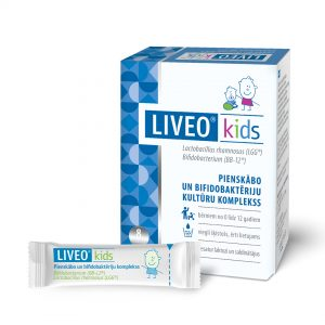 Liveo pienskābās un bifidobaktērijas pulverīši bērniem.