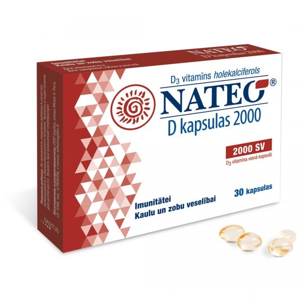 Nateo D vitamīns kapsulas bērniem un pieaugušajiem