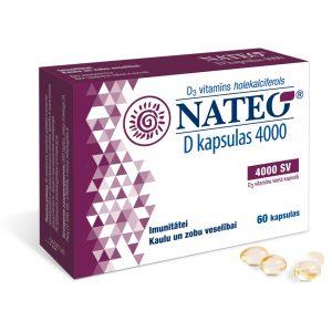 Nateo D vitamīns kapsulas pieaugušajiem un bērniem